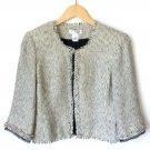 White House Black Market Off White Black Tweed Fringe Crop Jacket Women's Size 10 (Medium) M