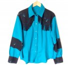 Turquoise Fringe Western Shirt Cowboy Cowgirl Pearl Snaps Women's Size XL Costume