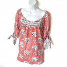 Gretchen Scott Designs Coral Tie Sleeve Boat Neck Tunic Top Shirt Cotton Women's Size XS