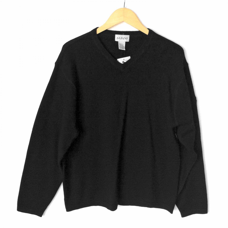 Alfani Black V Neck Wool Blend Sweater Zipper Sleeve Pocket Mens' Size Large (L) New