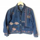 Chicos Design Fish Koi Denim Jean Jacket Beaded Sz 1 Women's Size Small / Medium (S / M)