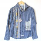 English Laundry Limited Edition Flip Cuff Blue Stripe Patchwork Shirt Men's Size Large (L) New