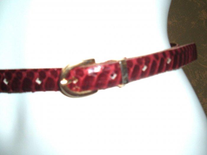 Vintage Geoffrey Beene Skinny Maroon Snakeskin Belt 28