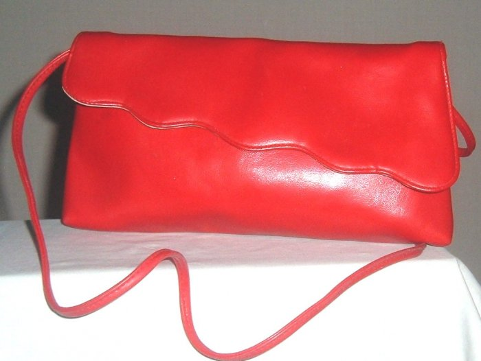 Vintage Red Scalloped Envelope Clutch Purse
