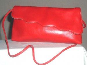Vintage Red Scalloped Envelope Clutch Purse