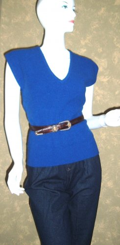 Vintage Cobalt Blue Angora Sweater Vest V-neck Top M ps