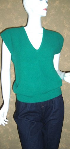 Vintage Kelly Green Angora Sweater Vest V-neck Top M ps