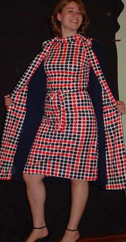 Vintage Mod Navy Coat with Dotty Sleeveless Dress  NWT B34 Medium