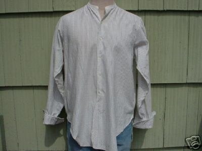 mens vintage 30's Shirt Collarless French Cuffs L Cotton