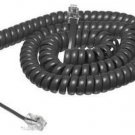 12ft 12' Charcoal Gray Handset Receiver Phone Telephone Coil Curly Cord