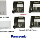 PANASONIC KX-TD816 KSU 4X8 WITH (4) KX-T7433 PHONES INCLUDES VOICE MAIL
