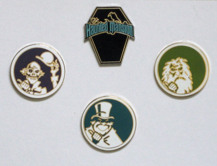 Disney Haunted Mansion Hitchiking Ghosts 4 Pin Set w/LE Coffin Pin