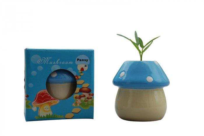 Mushroom plants; Mushroom gift;Ceramic Mushroom(blue)