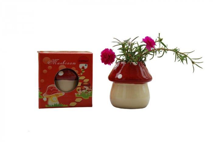 Mushroom planter; Mushroom gift;Ceramic Mushroom(red)