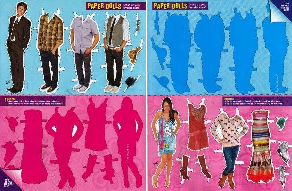 ZAC EFRON & MILEY CYRUS Magazine Paper Dolls 2 PAGES