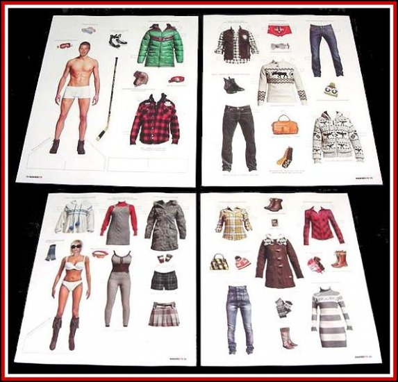 DAVID & VICTORIA BECKHAM Magazine Paper Dolls 4 PAGES