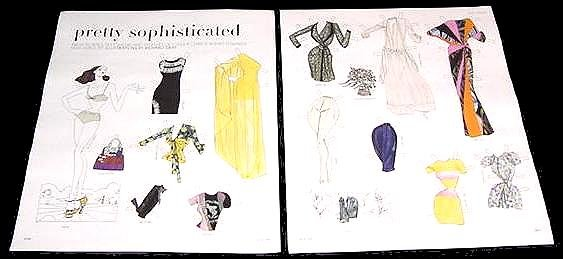PRETTY SOPHISTICATED Magazine Paper Dolls 2 BIG PAGES
