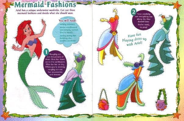ARIEL MERMAID FASHIONS Magazine Paper Dolls 2 PAGES
