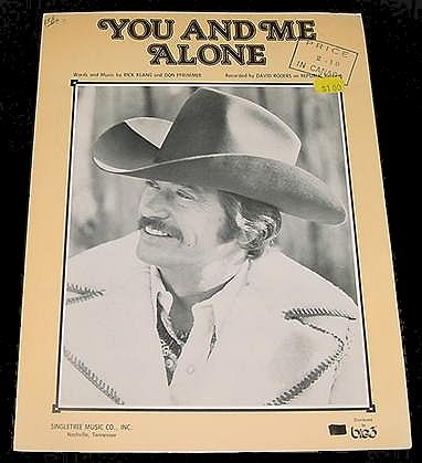 You And Me Alone DAVID ROGERS Sheet Music 1976 PHOTO