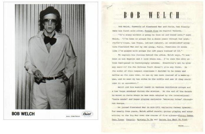 BOB WELCH Black & White Press Photo & 3-Page Bio 1970s