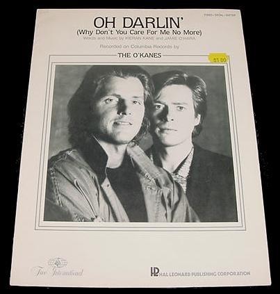 Oh Darlin' THE O'KANES Sheet Music 1986