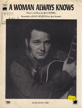 A Woman Always Knows DAVID HOUSTON Sheet Music 1971
