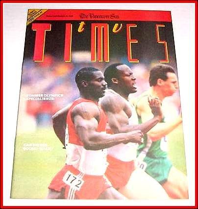 TV Times September 16, 1988 BEN JOHNSON Seoul Summer Olympics.