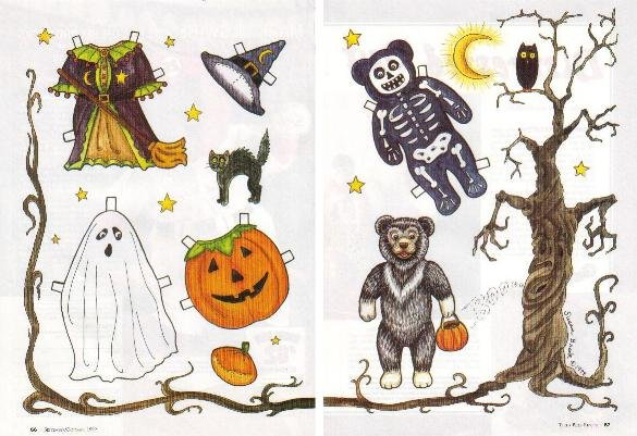 HALLOWEEN TEDDY BEAR Magazine Paper Dolls 2 PAGES