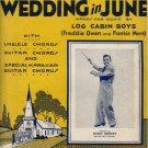 A HILL BILLY WEDDING IN JUNE Original 1933 Sheet Music BENNY MEROFF