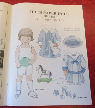 JULES PAPER DOLL OF 1886 Magazine Paper Dolls by Ellery Thorpe 1985