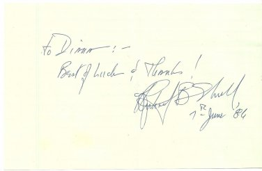 RICHARD B. SHULL Original Autograph Dated June 7, 1986