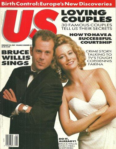 US MAGAZINE February 23, 1987 BRUCE WILLIS & CYBILL SHEPHERD Dennis Farina