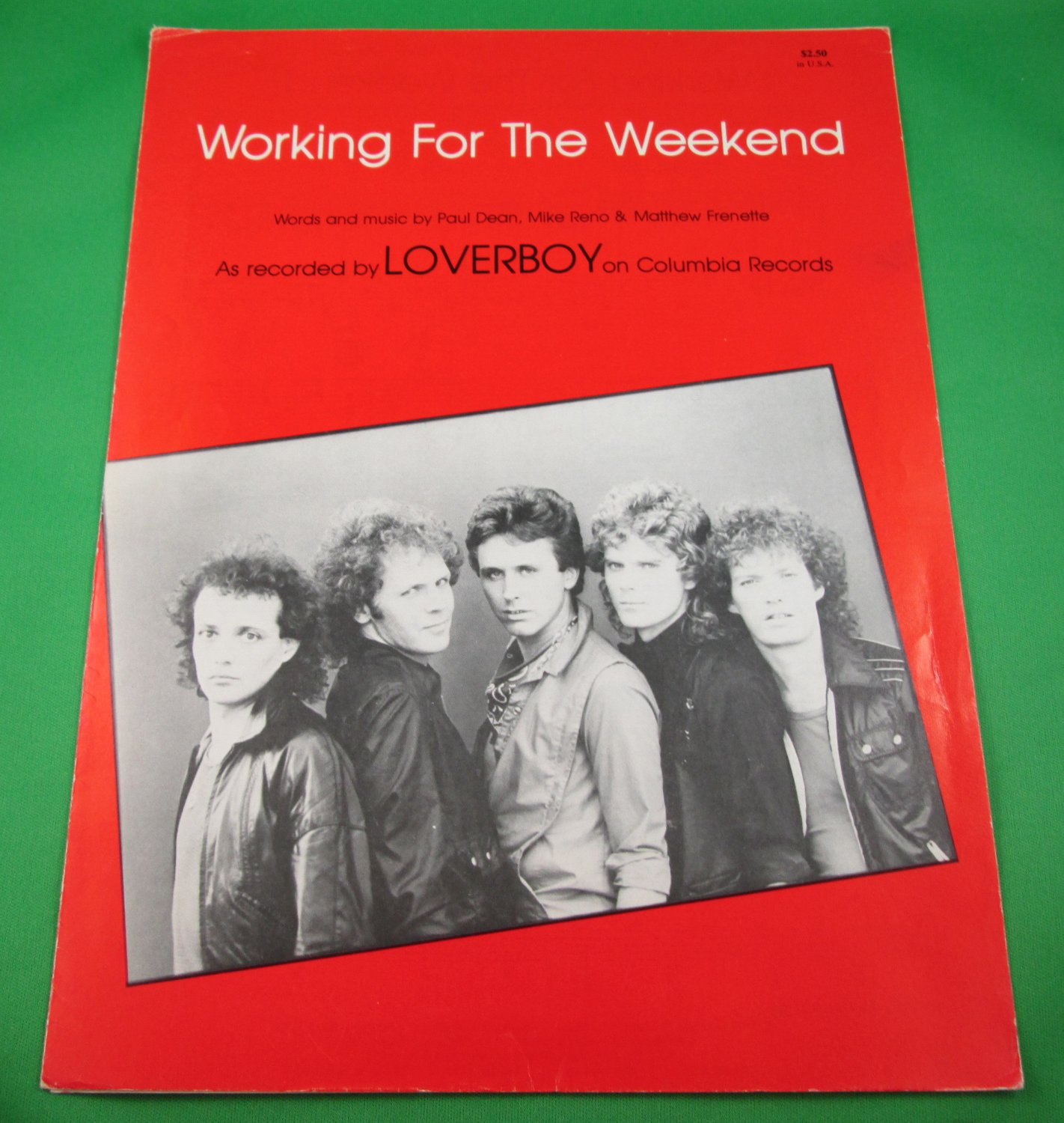 WORKING FOR THE WEEKEND Original Sheet Music LOVERBOY © 1981