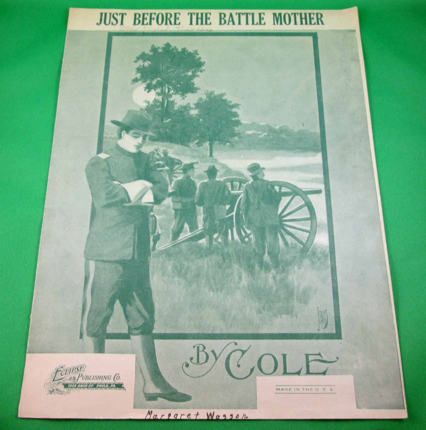 JUST BEFORE THE BATTLE MOTHER Original Vintage Sheet Music 1920's