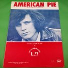 AMERICAN PIE Original Sheet Music DON McLEAN COVER © 1972