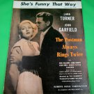 SHE'S FUNNY THAT WAY Sheet Music LANA TURNER & JOHN GARFIELD COVER 1928
