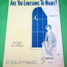 ARE YOU LONESOME TO-NIGHT? Vintage Piano/Vocal/Guitar/Ukulele Sheet Music © 1927