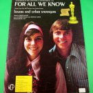 FOR ALL WE KNOW Lovers and Other Strangers Theme Sheet Music THE CARPENTERS 1971
