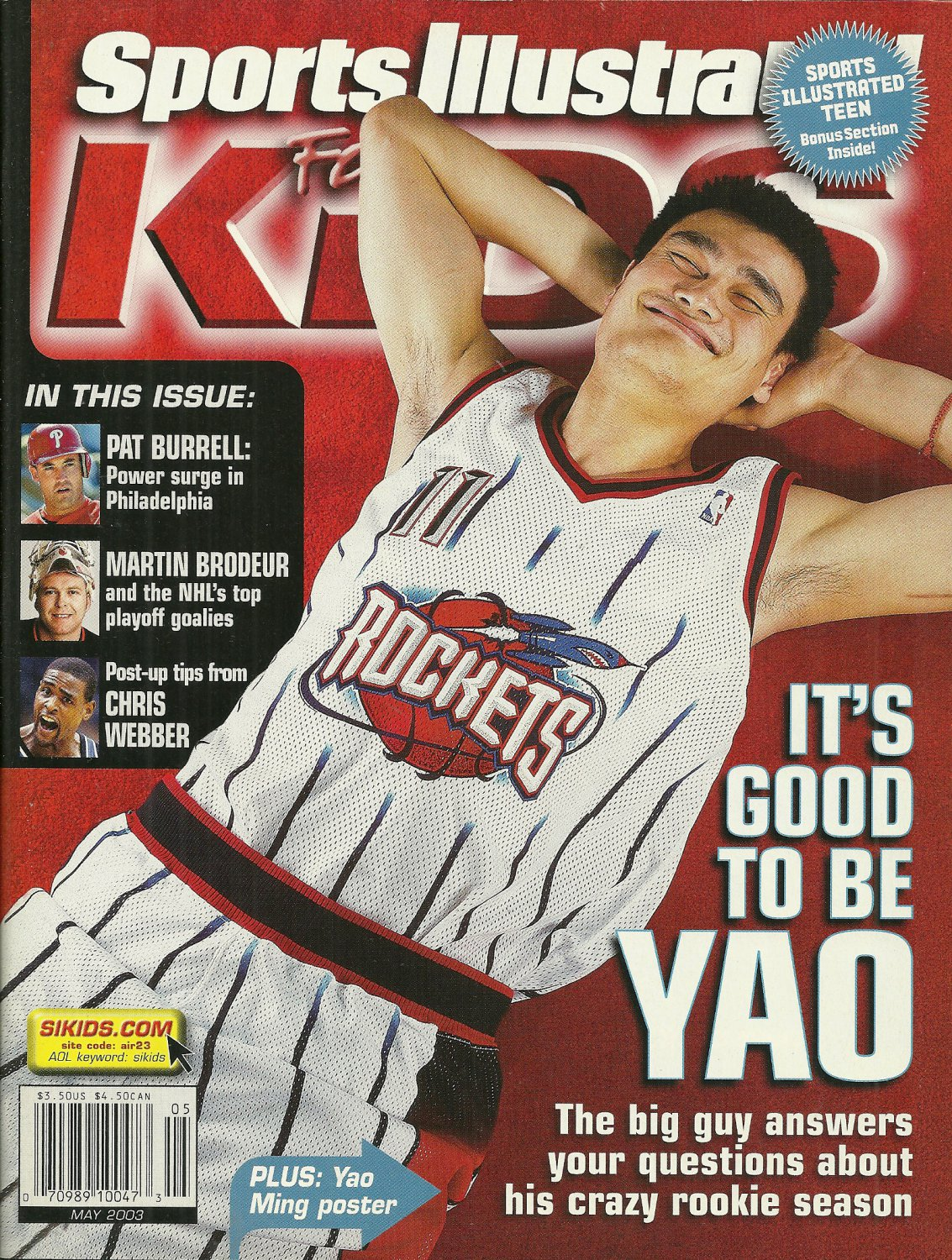 SI SPORTS ILLUSTRATED FOR KIDS MAGAZINE May 2003 w/ Cards & Yao Ming Poster NEW!