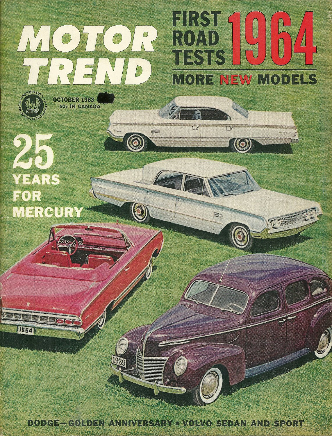 MOTOR TREND MAGAZINE October 1963 First 1964 Road Tests VOLVO 122-S and P1800S