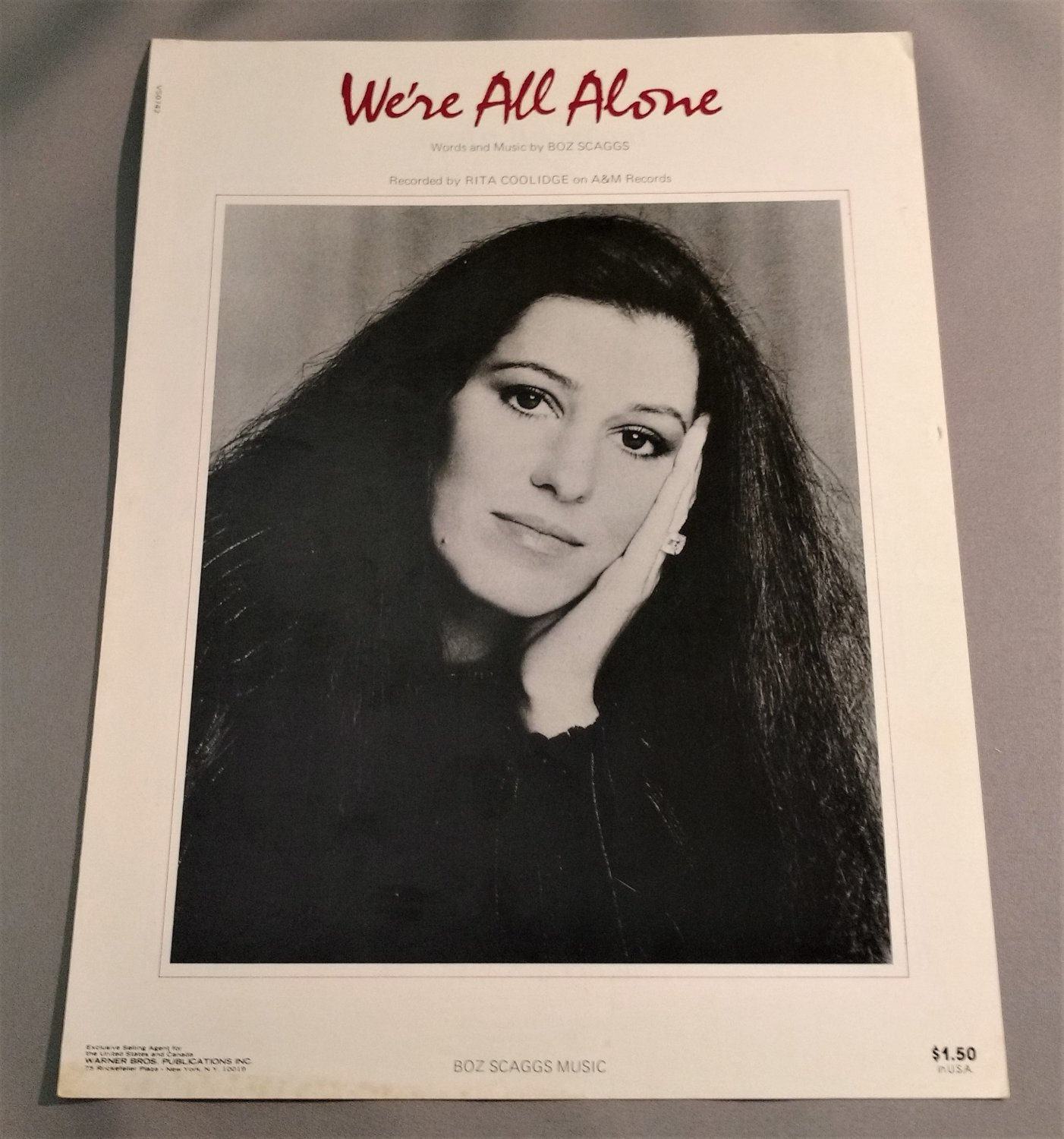 WE'RE ALL ALONE Sheet Music RITA COOLIDGE 1976 Cover Photo