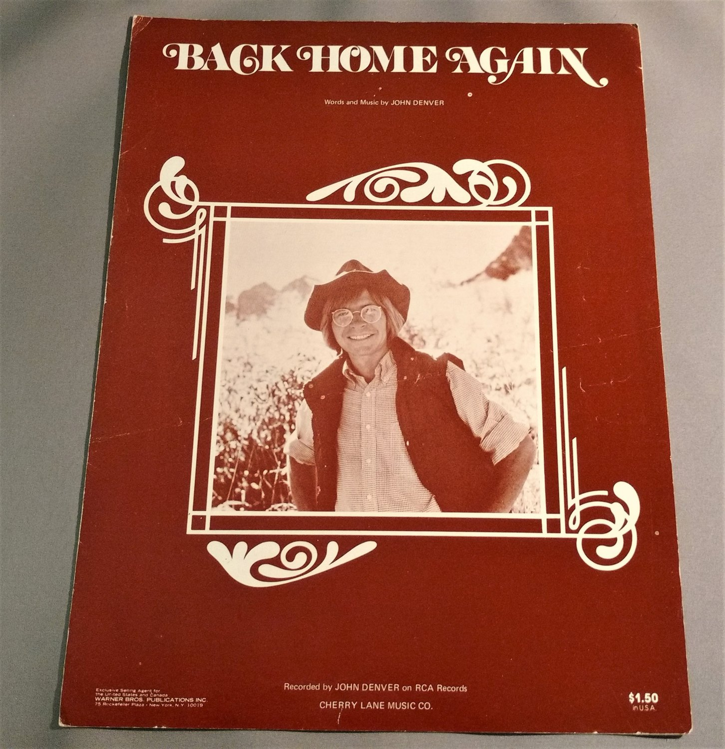 BACK HOME AGAIN Piano Vocal Guitar Sheet Music JOHN DENVER 1974 Cover Photo