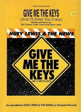 GIVE ME THE KEYS Piano/Vocal/Guitar Sheet Music HUEY LEWIS & THE NEWS © 1988