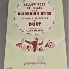 YELLOW ROSE OF TEXAS for Accordion Band / Duet Sheet Music 1st 2nd & Bass © 1950