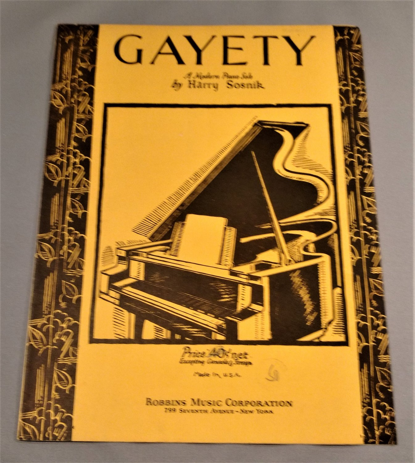 GAYETY Piano Solo Sheet Music by Harry Sosnik and D. Savino © 1935