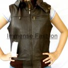 NWT Women's Sleeve Less Hood Leather Jacket Style 42F