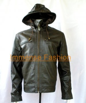 NWT Men's Remove-able Hood Leather Jacket Style M32