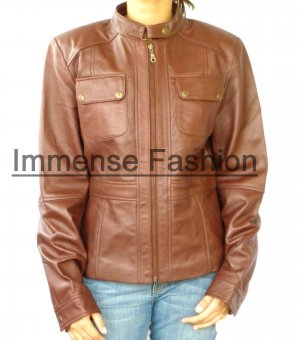 NWT Women's Bomber Leather Jacket Style 18F Size S-XL