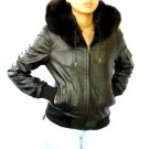 NWT Women's Hooded Real Fox Fur Trim Leather Jacket Style 14FB