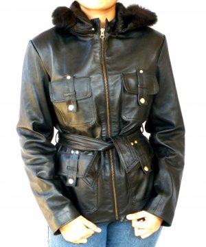 NWT Women's Fox Fur Hood Leather Jacket 44F TOMA